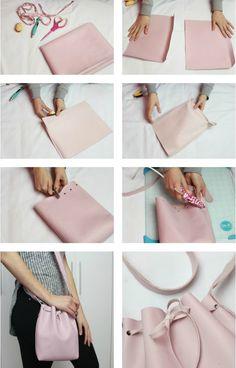 do it yourself Leather Bag Tutorial, Handbag Tutorial, Leather Bag Pattern, Diy Handbag, Leather Diy Crafts, Leather Projects, Leather Craft, Diy Bags No Sew, Diy Purse No Sew