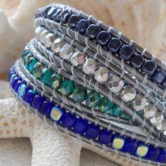 Cobalt Blue, Navy Blue, Teal, and Silver Bracelet, Leather Wrap Bracelet, Czech Glass Beads, Boho Bracelet