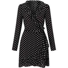 Miss Selfridge Black Polka Dot Wrap Dress (541.280 IDR) ❤ liked on Polyvore featuring dresses, black, rayon dress, miss selfridge, dot dress, wrap dress and miss selfridge dresses