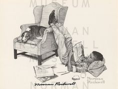 TeenagerStudying - signed Norman Rockwell print