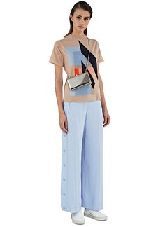 Acne Studios Basil Nougat Knit and Oshea Wide Leg Popstud Pants