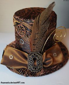 Really like the idea of drawing from Steampunk influence for accessories like hats. [✿ Timeless Steampunk Mini Victorian Top Hat with Keyhole and Gears ✿] Steampunk Hut, Design Steampunk, Costume Steampunk, Victorian Steampunk, Steampunk Clothing, Steampunk Fashion, Fashion Goth, Steampunk Necklace, Steampunk Artwork