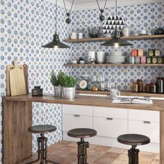 Looking for some farmhouse style backsplash ideas? Check out our Mirambel 13x13 patterned tile! This ceramic and wall tile offers a stunning throwback to artisanal tile work. It retails starting at $11.99 SQ FT.