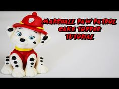 How to make Marshall Paw Patrol tutorial cake topper fondant sugar paste - YouTube