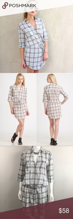 Standard James Perse Brown Plaid Knit Shirtdress