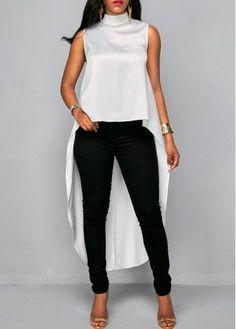 White Asymmetric Hem High Neck Sleeveless Blouse   Rosewe.com - USD $29.12