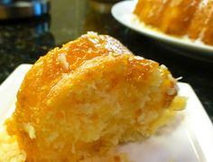 Easy Pineapple Bundt cake recipe - 1 can (20 oz) crushed pineapples, 1 bx yellow cake mix, 1/2 c sweetened coconut flakes  Icing: mix oj and powdered sugar until its drizz-able :)  This recipe is awesome!!!!!!!! So good!