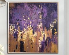 Oversize Abstract Wall Art Purple Painting Acrylic Painting On Canvas Original Abstract Oil Painting On Canvas Wall Painting For Living Room Abstract Canvas Art, Oil Painting Abstract, Acrylic Painting Canvas, Canvas Wall Art, Purple Canvas Art, Watercolor Painting, Purple Painting, Painting Edges, Large Wall Art