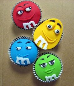 M&M'S character cupcakes! Aren't they adorable? No recipe found, they were made by a bakery, Kakes by Klassic.