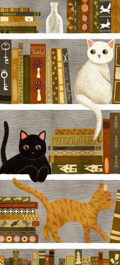 cute cats and books illustration I Love Cats, Crazy Cats, Cute Cats, Chat Kawaii, Cute Cat Wallpaper, Illustration Art, Illustrations, Buy A Cat, Cat Drawing