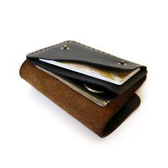 Vertical Snap Wallet in Brown