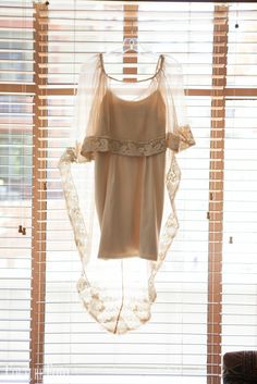 """""""Heart of Gold Dust Woman"""" gown for Ms. Danielle // Re-purposed Danielle's mama's 60s wedding gown: used the lace & buttons for the silk chiffon caplette. Short warm nude dress made from silk charmeuse"""