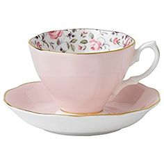 Amazon.com: Royal Albert Rose Confetti Formal Vintage Boxed Teacup and Saucer Set: Drinkware Cups With Saucers: Kitchen & Dining