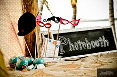 I heart photo booth signs, props and, not pictured, frames! #weddingphotos #photobooth #beachweddingideas #mishkadesigns