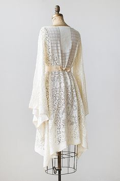 vintage 1970s lace bell sleeve bohemian dress - Click Image to Close