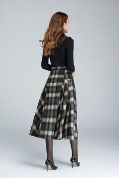 plaid skirtgrid skirt wool skirt winter skirt pleated by xiaolizi