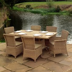 Outdoor Garden Furniture Auckland 170cm Round Dining Table With Four Dining Chairs And Two