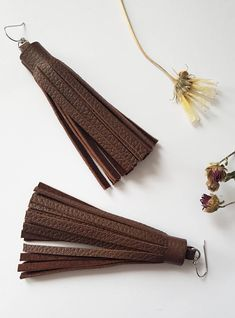 Long Leather Tassels Earrings, Bold Fringe Earrings, Statement Jewelry, Dark Chocolate Brown, Bohemian Gypsy Stylish Dangles, Gift for Her