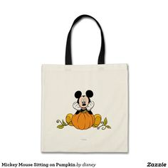 Mickey Mouse Sitting on Pumpkin. Regalos, Gifts. #bolso #bag