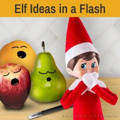 Fast Elf on the Shelf Ideas   Easy Elf on the Shelf Ideas   Elf on the Shelf Elf Pets, Awesome Elf On The Shelf Ideas, Christmas Tale, Holiday Fun, Holiday Decor, Hiding Spots, Variety Of Fruits, Orange You Glad, Piece Of Bread