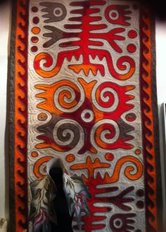 Beautiful Shyrdak felt rug, the oblong design is suitable as a runner in a hallway or landing space. The striking pattern in contrasting colours is made using the traditional Shyrdak rug-making technique by the nomad tribes of Kyrgizstan.