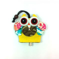 NEW PRETTY MULTI COLOR FABRIC HANDCRAFT OWL KEYCHAINS KEY CAP COVER #Unbranded