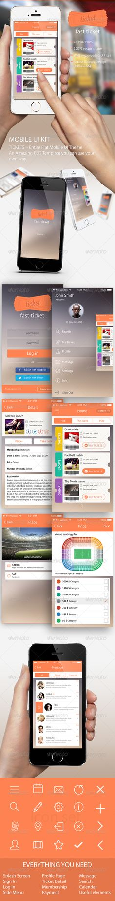 Ticket Mobile UI Template on Behance