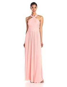 JS Boutique Women's Pleated Halter Gown with Beads, Melon, 10 ** Check this awesome product by going to the link at the image.
