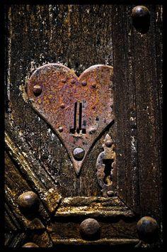 Hidden Heart   Extraordinary detail on a vintage door