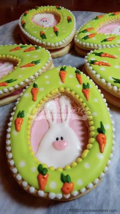 Easter - Bunny with Egg frame and carrots.
