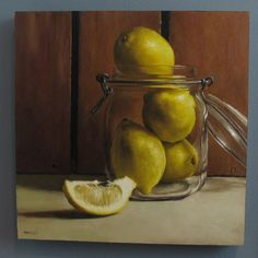 LilaMae USA - Michael Naples Painting :: Lemons in Mason Jar, $900.00 (http://www.lilamae.com/michael-naples-painting-lemons-in-mason-jar/)