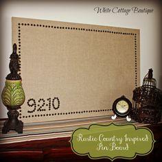 Linen/Burlap Pin Board. Super cute w/the black upholstery pins border.