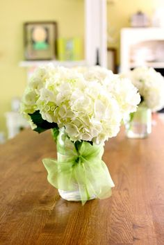 Hydrangea Mason Jar Wedding Centerpiece- maybe make bridesmaids bouquets hydrangeas then have them put them in mason jars for centerpieces- trade out the ribbon for burlap or raffia for a more rustic feel
