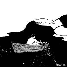 Rowing to you  조용한 네 바다에  잔잔한 물결을 만들며 너에게 노 저어 간다.