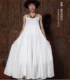 Купить товарЖенщины в сплошной цвета хлопок лён богемный пляж длинная платье без рукавов тонкая лямка большой качающиеся макси платье 851276 в категории Платьяна AliExpress.
