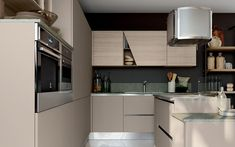 Cucina angolare moderna con isola  - Composizione 0582 - Vista laterale