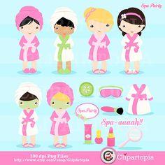 Spa Party Digital Clipart / Girls Spa Party Clip por ClipArtopia, $5.00