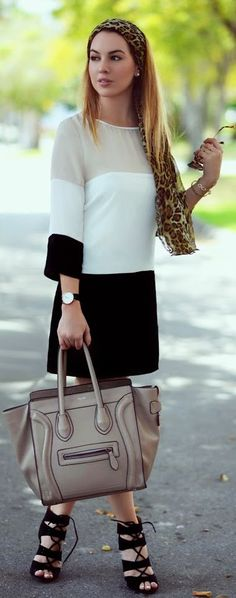 Loving this high/low look with Charlotte Russe Colorblock Shift Dress and Celine Bag by Chic Fashion World