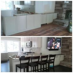 Complete Remodel Of This Summer Home Kraftmaid Painted Cabinets With Granite Countertops We Removed The Wall Between Living Room And Kitchen
