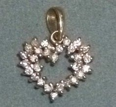 Vintage Fine Jewelry - 1/2 cttw Open Heart Pendant with 28 Diamonds in 14kyg | eBay  http://www.ebay.com/itm/150948055703