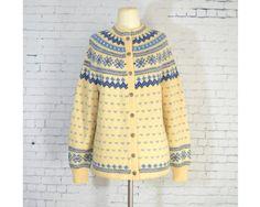 Vintage Lulle Otterstad Wool Fair Isle Cardigan Sweater Hand Knit Norway