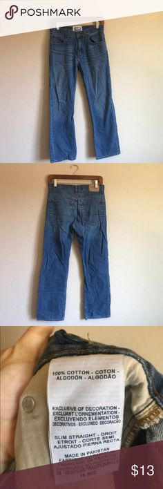 Boys Levi's Jeans Slim straight fit, size 16, great condition 🙌🏼 measurements in inches: 14 waist, 9 rise, 37 length, 27 inseam, 8 leg opening Bottoms Jeans
