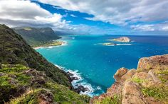 Hawaii, coast, ocean, summer, mountains, tropical island, USA
