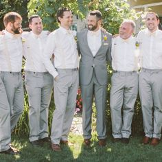 Light Gray and White Groomsmen Looks // Clane Gessel Photography // http://www.theknot.com/weddings/album/a-gray-and-yellow-rustic-wedding-in-hood-river-oregon-140620