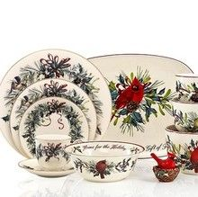 Lenox Winter Greetings - A composition of garden birds, red and yellow bows and holly accented with a gold trim, with many accent pieces featuring a red cardinal.  http://www.dinnerwaredepot.com/shop/catalog/handler~event~familySelected~pf_id~2195.htm #lenoxwintergreetings