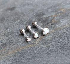BioFlex White Fire Opal Triple Helix Cartilage Earrings, Internal Thread Prong Set, Hypoallergenic S Helix Piercing Ring, Triple Forward Helix Piercing, Helix Cartilage Earrings, Triple Helix, Ear Piercings, Stud Earrings, Body Jewelry, Jewellery
