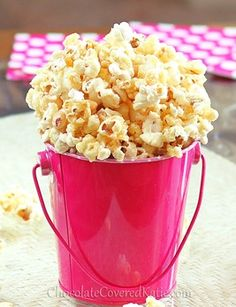 caramel corn - honey, brown sugar, salt & butter.  We tripled the amount of popcorn and will add even more next time. It's delicious!