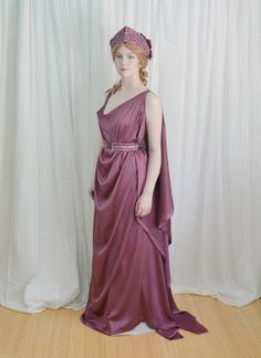 Love the drape on this (apparently simple) Grecian inspired dress // persephone; Greek Fashion, Roman Fashion, Historical Costume, Historical Clothing, Angela Clayton, Persephone Costume, Roman Goddess Costume, Ancient Greek Clothing, Ancient Greek Dress