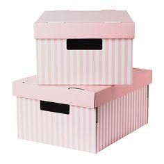 PINGLA Boîte avec couvercle - rose, 28x37x18 cm  - IKEA
