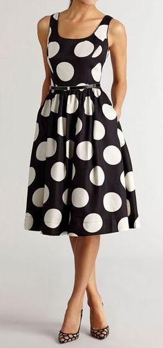 Polka dot midi dress. This would still look cute with shade shirt or cardigan.